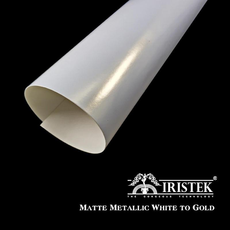 IRISTEK Pearlescent Car Wrap Vinyl Matte Metallic White to Gold
